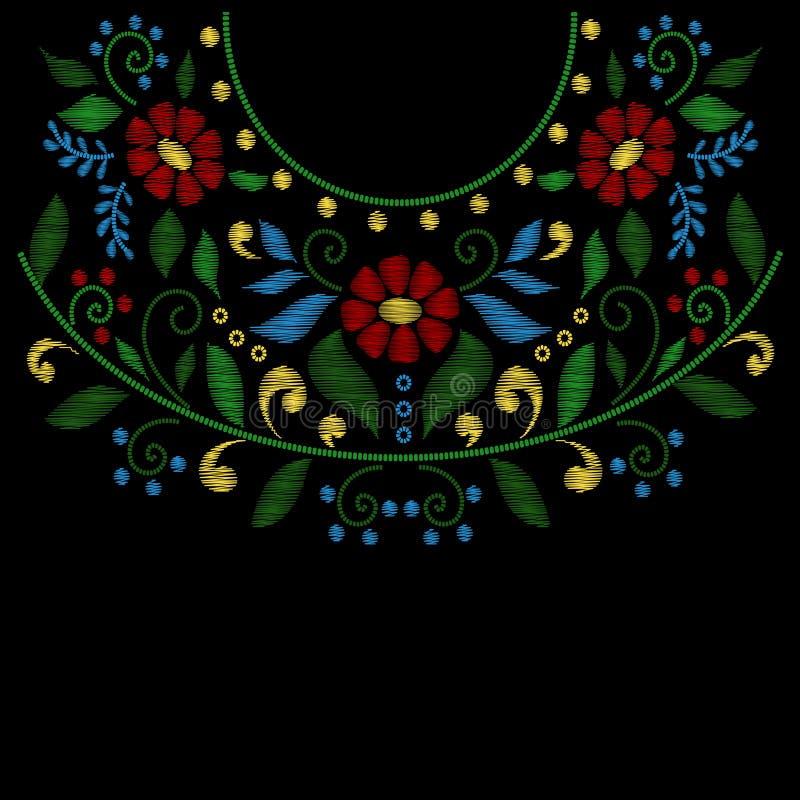 Линия вышивки шеи цветка конструирует вектор бесплатная иллюстрация