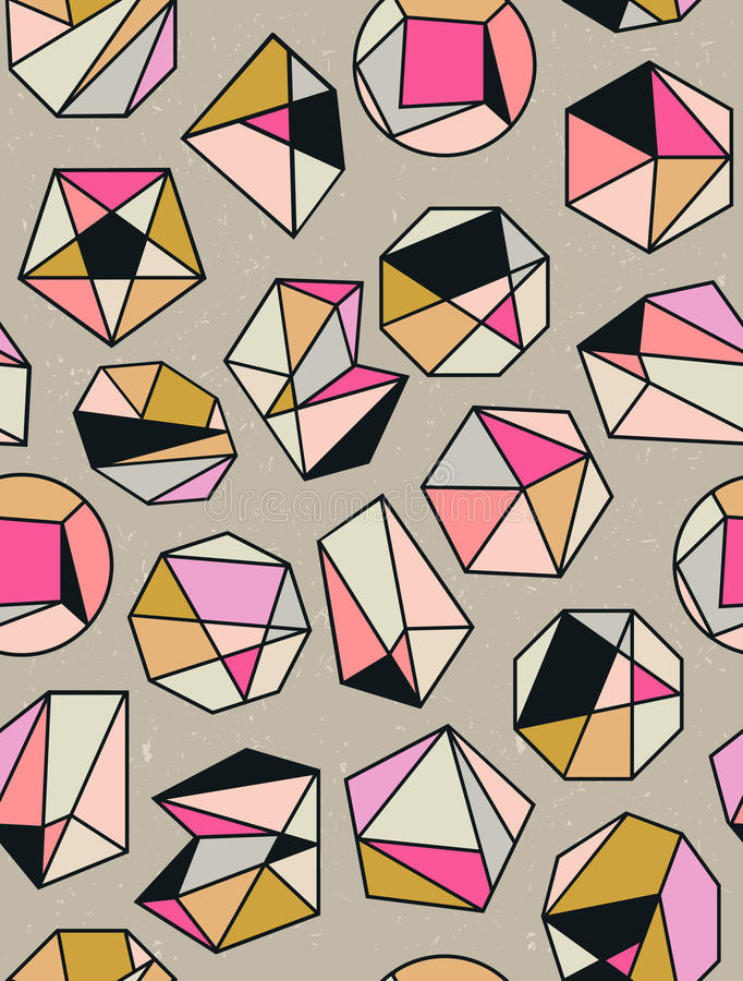 Линия геометрия кристалла форм Дизайн диамантов иллюстрация вектора