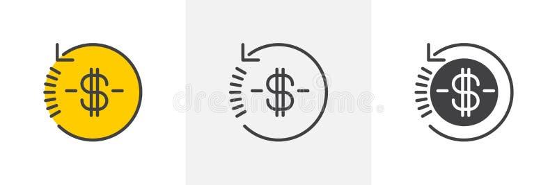 Наличных денег значок денег назад иллюстрация штока