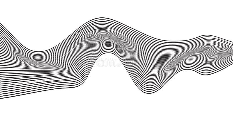 Линия горизонтальная нашивка волны конспекта черная изогнутая изолированная на белой предпосылке иллюстрация штока