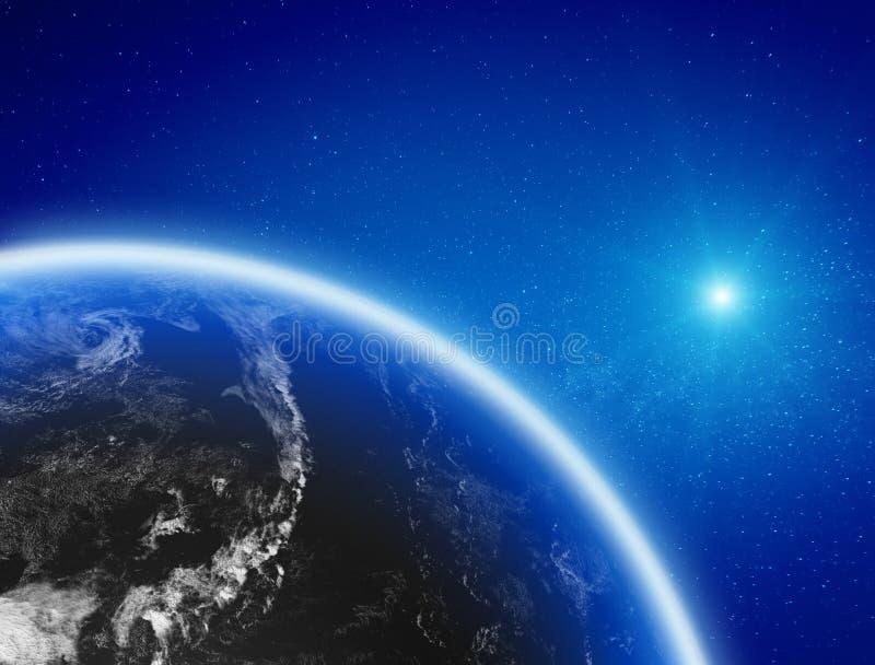 линия горизонта земли 3d представила космос стоковое фото