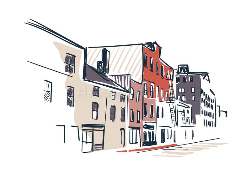 Линия горизонт ландшафта эскиза вектора города Портленда иллюстрации иллюстрация вектора