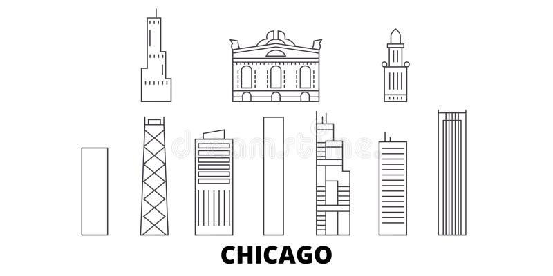 Линия города набор Соединенных Штатов, Чикаго горизонта перемещения Иллюстрация вектора города плана города Соединенных Штатов, Ч иллюстрация вектора