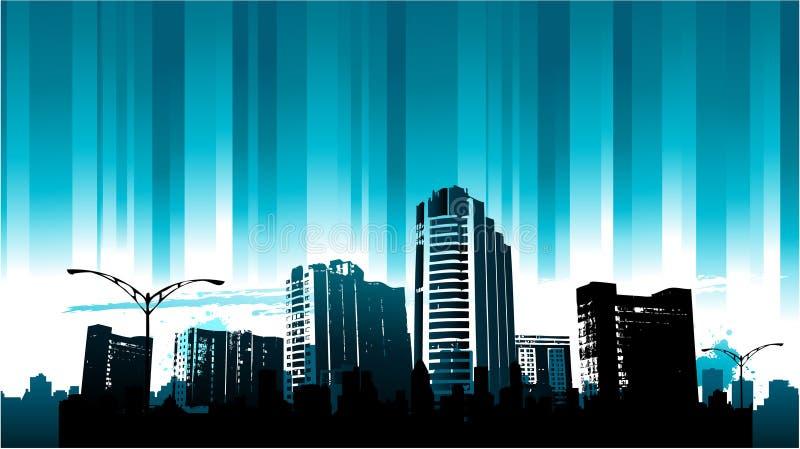 линия городского пейзажа предпосылки голубая иллюстрация вектора