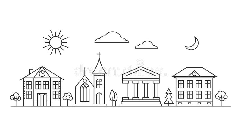 Линия города ландшафт вектора бесплатная иллюстрация