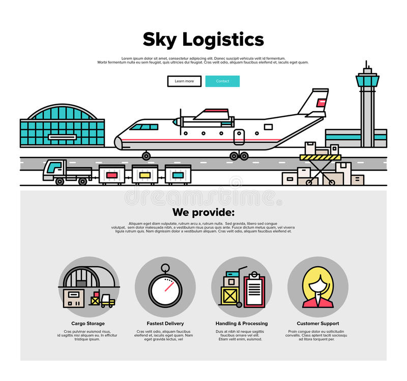 Линия графики снабжения самолета плоская сети иллюстрация вектора