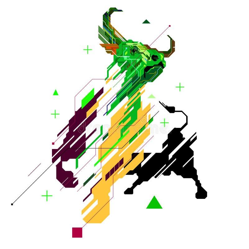 Линия график Bull искусства для картины логотипа иллюстратора geomatric, тенденции фондовой биржи бычьей поднимающей вверх иллюстрация вектора