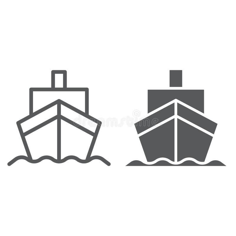 Линия грузового корабля и значок глифа, транспорт и доставка, знак крейсера, векторные графики, линейная картина на белом бесплатная иллюстрация