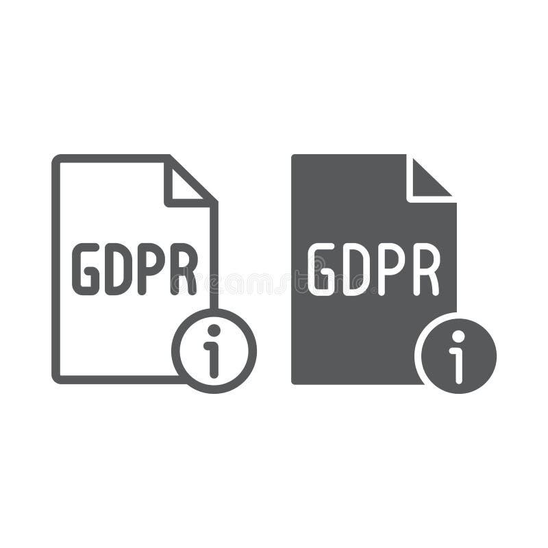 Линия данным по Gdpr и значок глифа, личный и уединение, знак информации, векторные графики, линейная картина на белом бесплатная иллюстрация