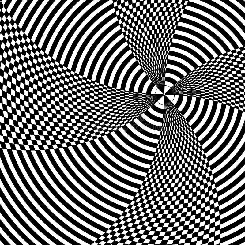 Линия движение Op искусства черно-белое иллюстрация штока