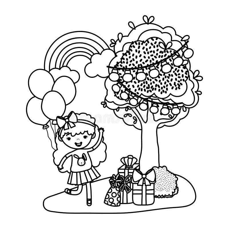 Линия дети девушек рядом с деревом с настоящими моментами и воздушными шарами бесплатная иллюстрация