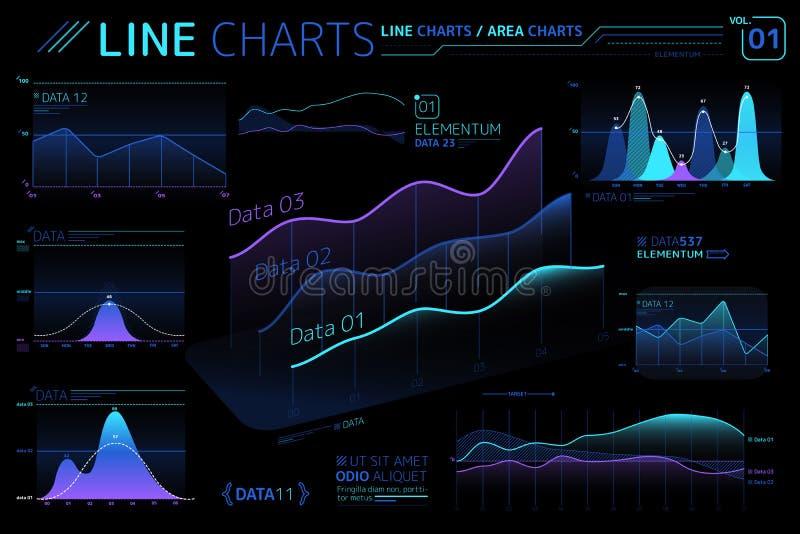 Линия диаграммы и элементы Infographic диаграмм зоны бесплатная иллюстрация