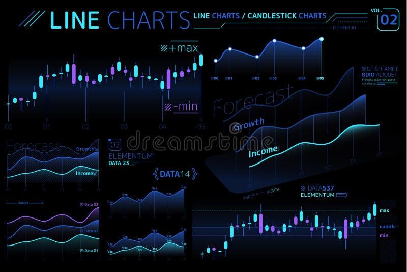 Линия диаграммы и элементы Infographic диаграмм зоны иллюстрация вектора