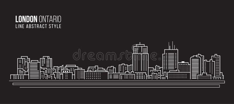 Линия дизайн здания городского пейзажа иллюстрации вектора искусства - город Лондона, Онтарио Канада иллюстрация штока
