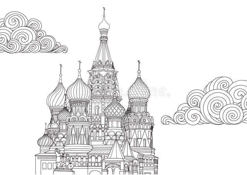 Линия дизайн искусства базилика Святого в Москве, России для элемента дизайна и страницы книжка-раскраски также вектор иллюстраци иллюстрация вектора