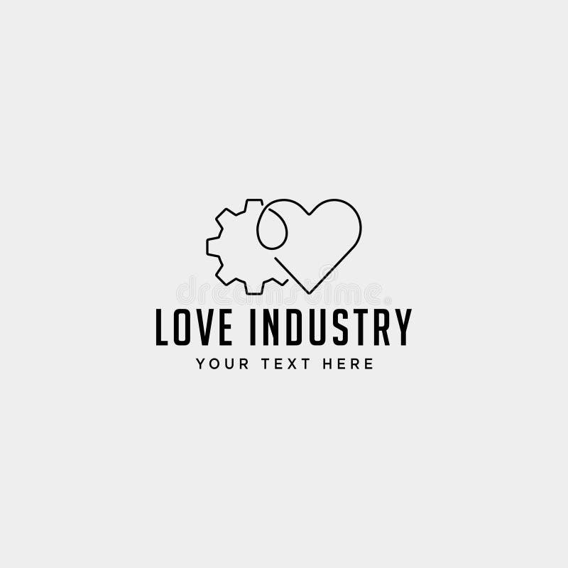линия дизайн логотипа сердца шестерни значка вектора индустрии здоровья изолировала иллюстрация штока