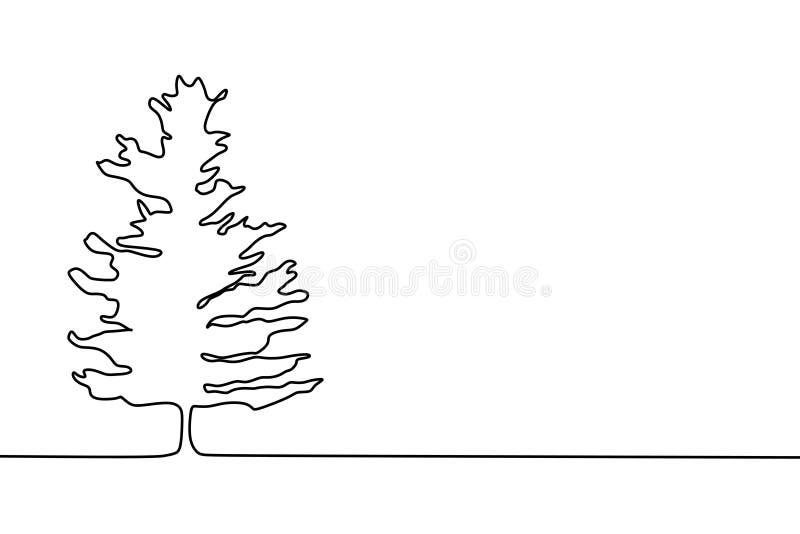 линия дизайн сосны непрерывная одна чертежа минималистский иллюстрация вектора