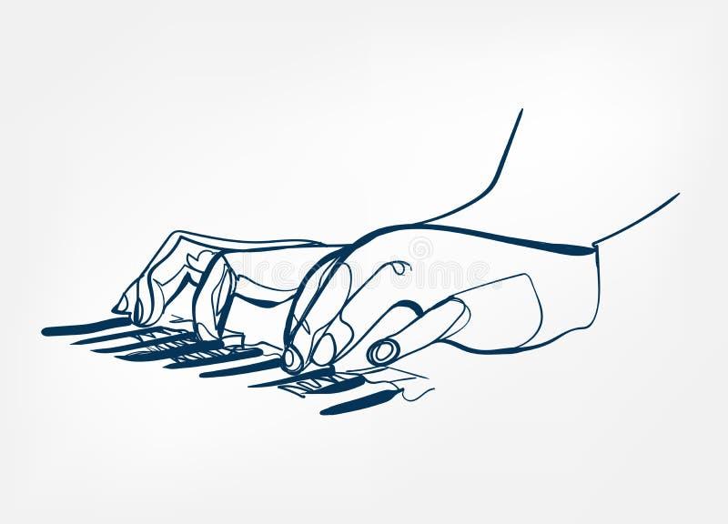 Линия дизайн эскиза синтезатора ключей рояля рук вектора иллюстрация вектора