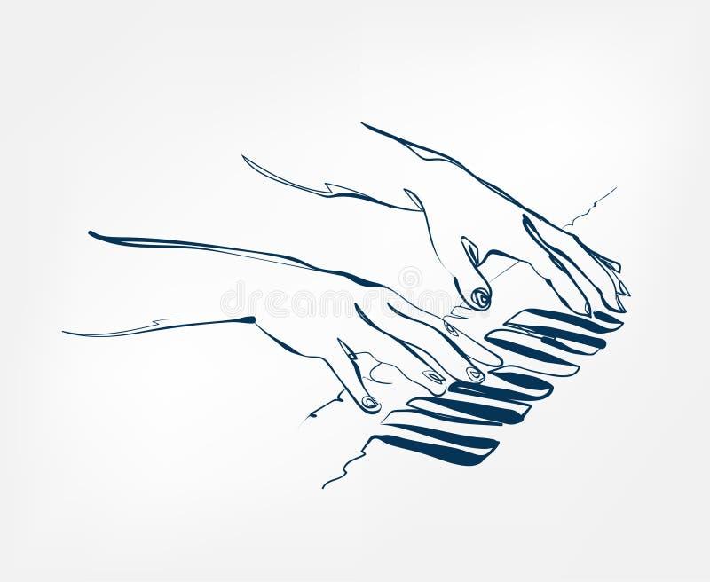 Линия дизайн эскиза синтезатора ключей рояля рук иллюстрация штока