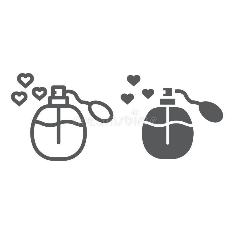 Линия духов любов и значок глифа, ароматность и романтичный, жидкий знак бутылки, векторные графики, линейная картина на белом иллюстрация вектора