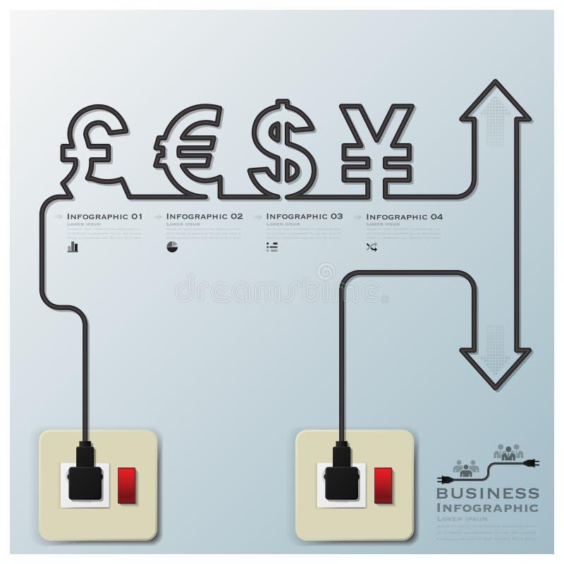 Линия дело Infographic CurrencyElectric денег иллюстрация штока