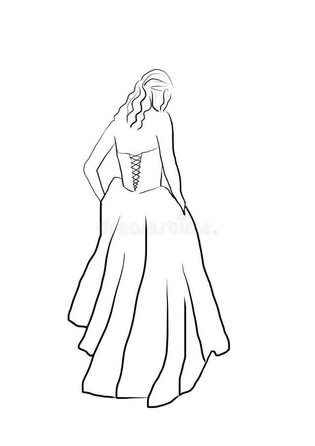 Линия женщина простой руки вычерченная черно-белая ультрамодная artabstract в длинном платье бесплатная иллюстрация