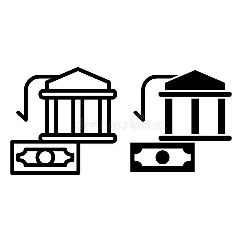 Линия здания и доллара банка и значок глифа Иллюстрация вектора денег изолированная на белизне Дизайн стиля плана финансов бесплатная иллюстрация