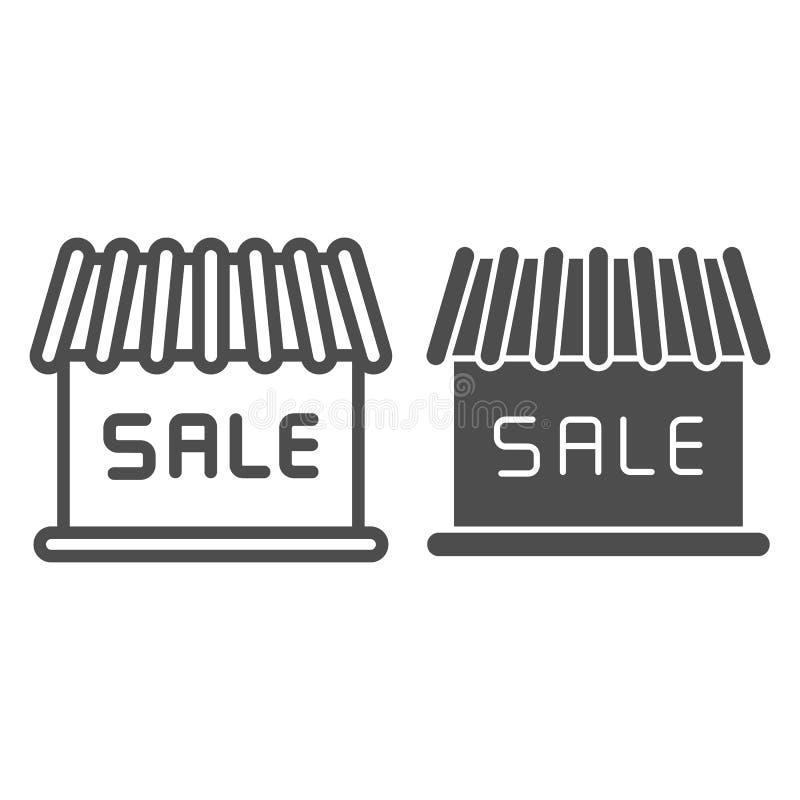 Линия здания магазина и значок глифа Иллюстрация вектора продажи изолированная на белизне Дизайн стиля плана рынка, конструирован иллюстрация вектора