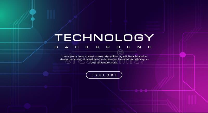 Линия знамени техник технологии влияний, концепция предпосылки розового зеленого цвета голубая со световыми эффектами бесплатная иллюстрация