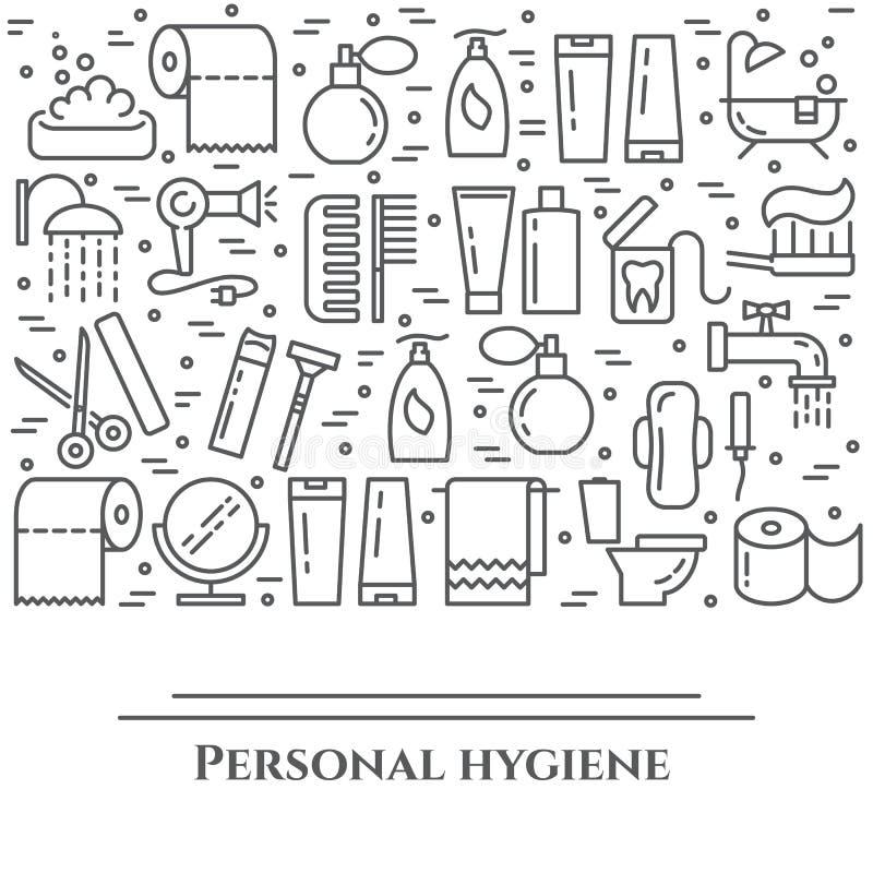 Линия знамя личной гигиены Комплект элементов ливня, мыла, ванной комнаты, туалета, зубной щетки и других пиктограмм чистки Конце иллюстрация штока