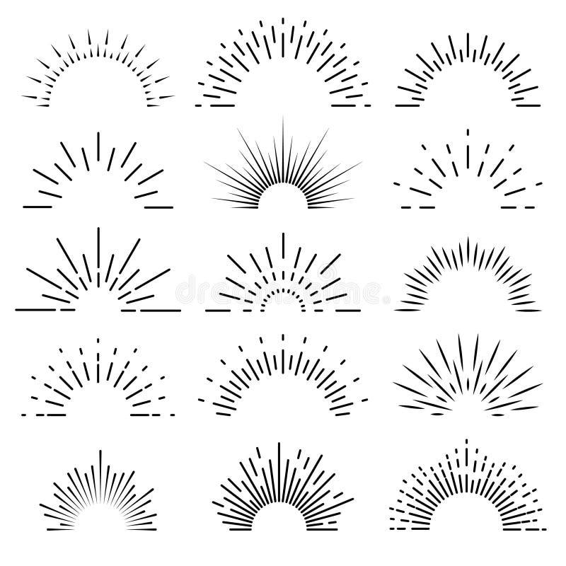Линия знамя ретро sunburst лучей восхода солнца светлая разрыванная starburst  бесплатная иллюстрация