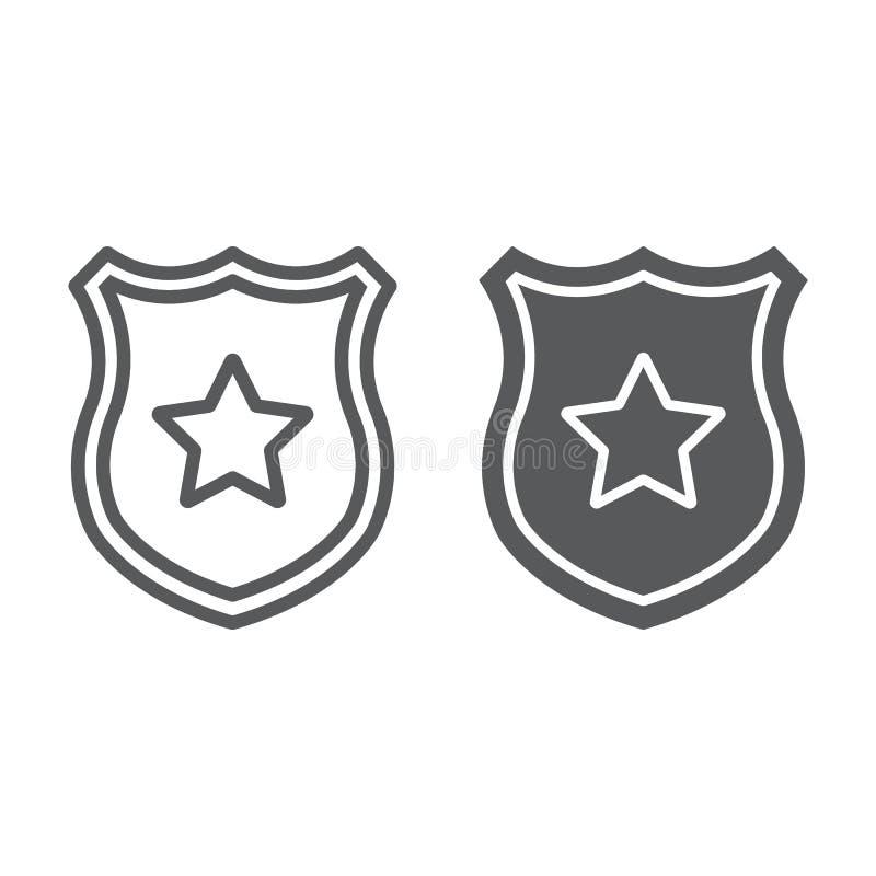 Линия значка полиции и значок глифа, офицер и закон, экран со знаком звезды, векторными графиками, линейной картиной на белом бесплатная иллюстрация