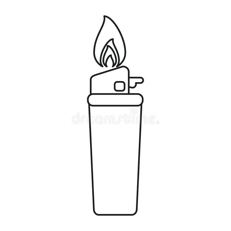 Линия значка пламени лихтера газа бесплатная иллюстрация