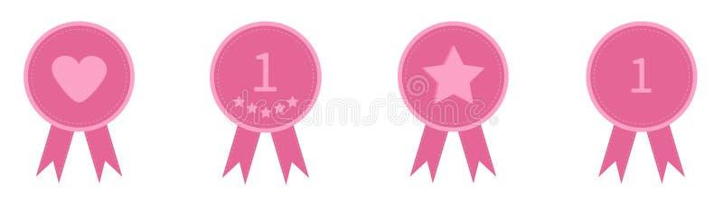 Линия значка установленная со звездой одно сердца и лентами Значок награды в плоском стиле дизайна Штриховой пунктир Белая предпо иллюстрация вектора