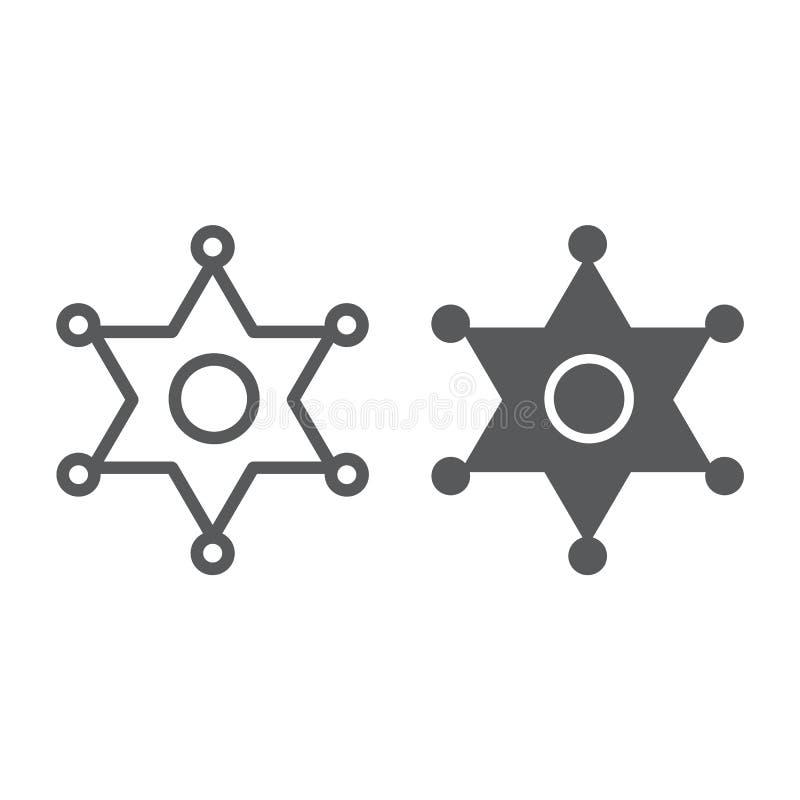 Линия значка шерифа и значок глифа, закон и офицер, знак значка полиции, векторные графики, линейная картина на белом бесплатная иллюстрация
