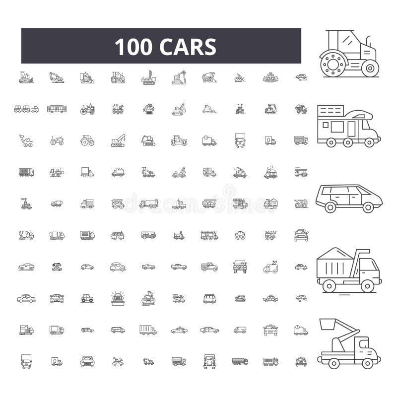 Линия значки автомобилей editable, набор 100 векторов, собрание Иллюстрации плана автомобилей черные, знаки, символы иллюстрация вектора
