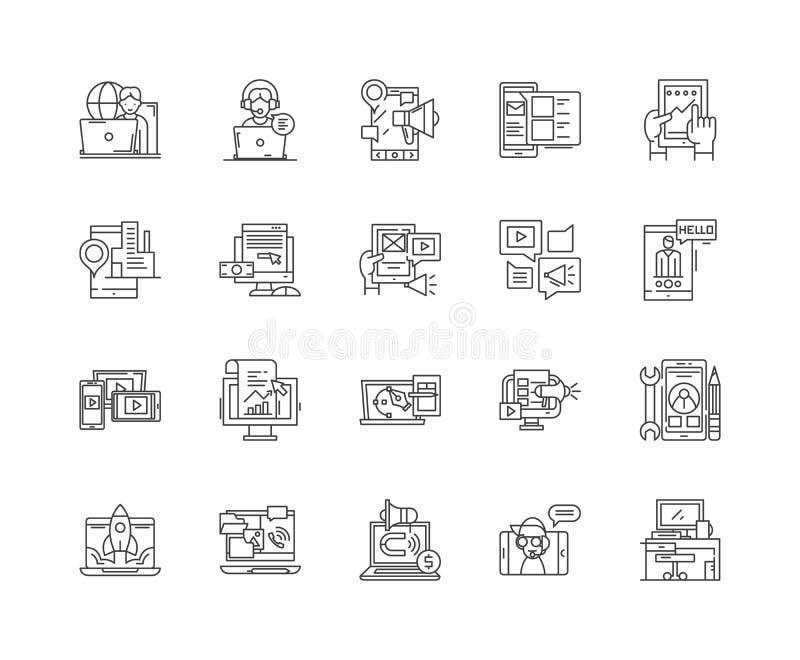 Линия значки агенства цифров, знаки, набор вектора, концепция иллюстрации плана бесплатная иллюстрация