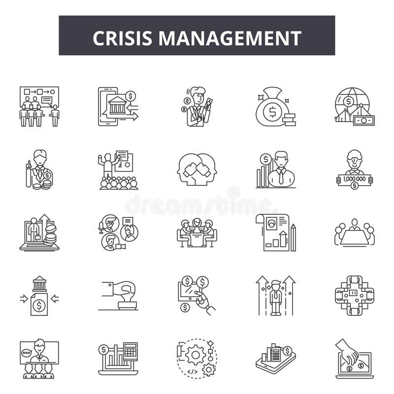 Линия значки антикризисного управления, знаки, набор вектора, концепц бесплатная иллюстрация