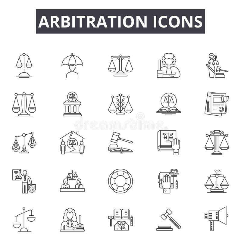 Линия значки арбитража, знаки, набор вектора, концепция иллюстрации пл иллюстрация штока