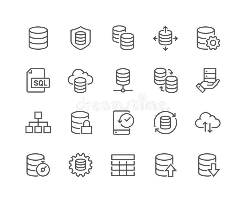 Линия значки базы данных иллюстрация вектора