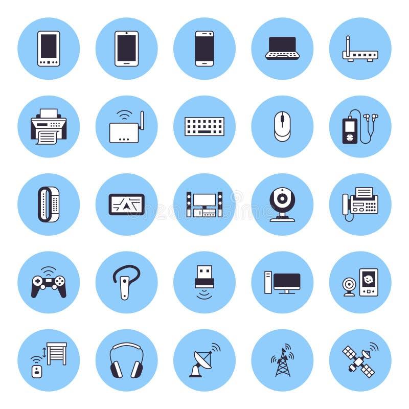 Линия значки беспроводных устройств плоская Знаки технологии доступа в интернет Wifi Маршрутизатор, компьютер, смартфон, планшет иллюстрация штока