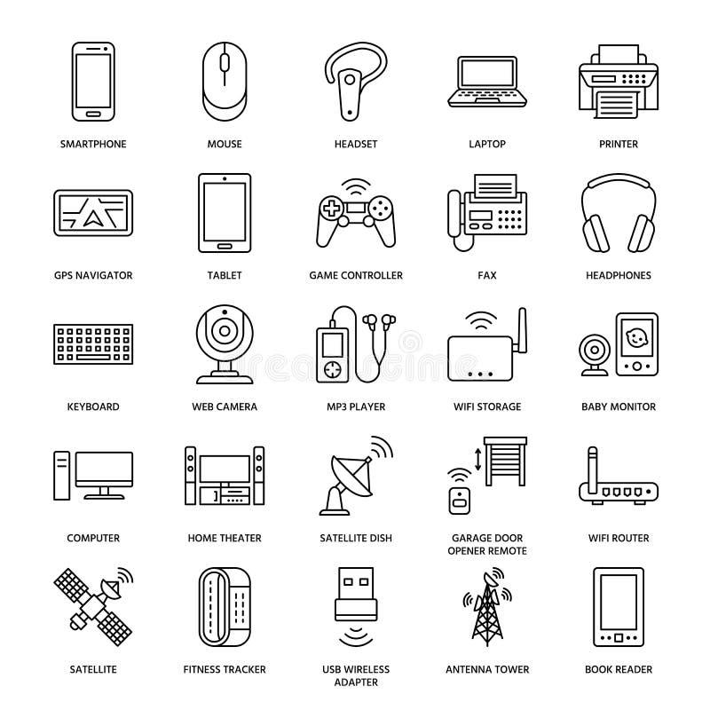 Линия значки беспроводных устройств плоская Знаки технологии интернет-связи Wifi Маршрутизатор, компьютер, smartphone, таблетка иллюстрация вектора