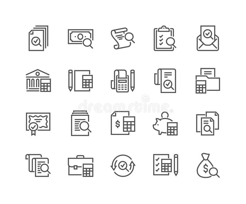 Линия значки бухгалтерии иллюстрация штока