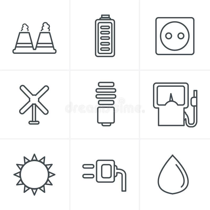 Линия значки вводит значки в моду энергии eco вектора черные иллюстрация вектора