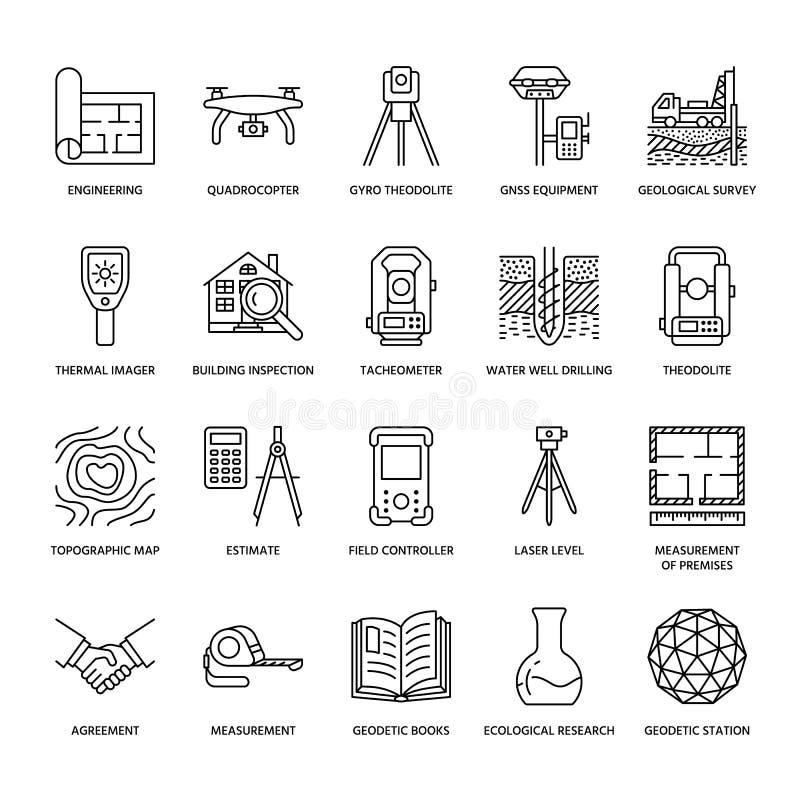 Линия значки вектора инженерства геодезического обзора плоская Оборудование геодезии, tacheometer, теодолит, тренога геологохимич иллюстрация вектора