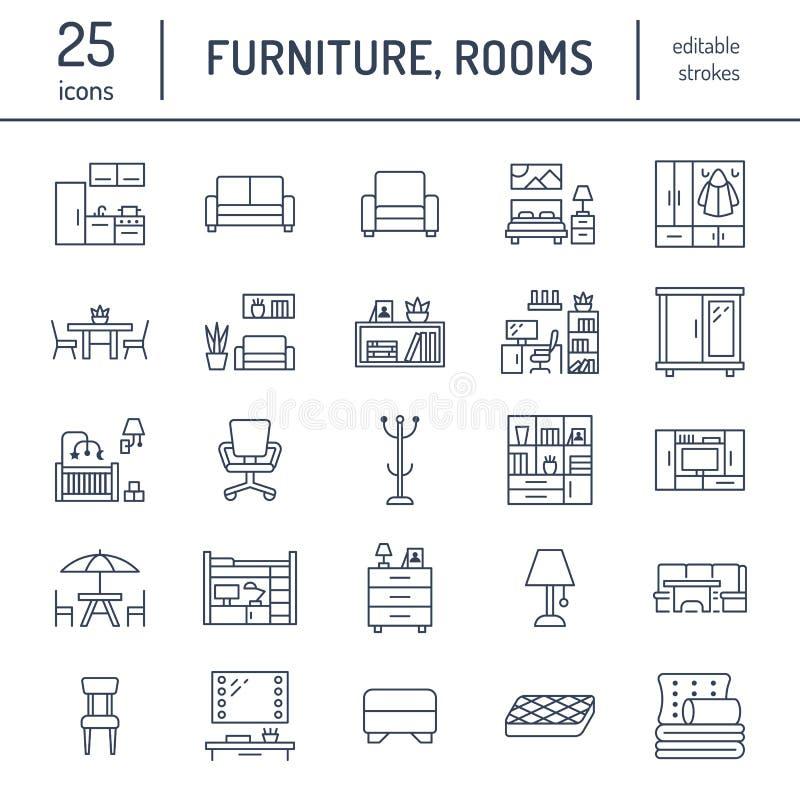 Линия значки вектора мебели плоская Стойка ТВ живущей комнаты, спальня, домашний офис, стенд кухни угловой, софа, питомник иллюстрация штока
