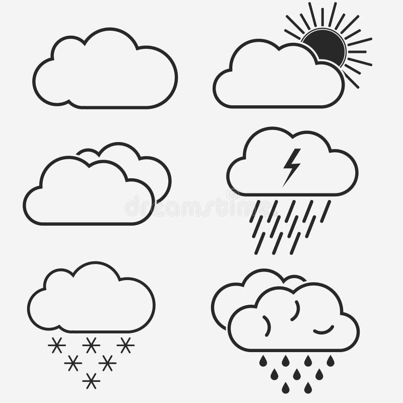 Линия значки вектора погоды Символы солнца, облаков, снежинок и дождя r иллюстрация штока