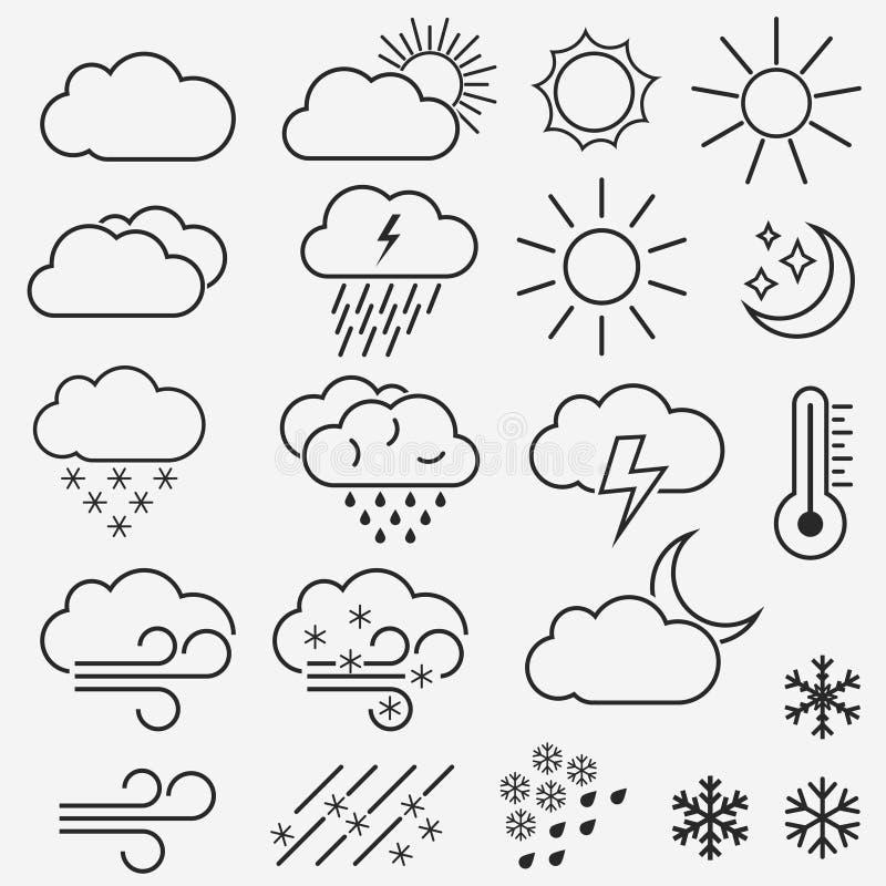 Линия значки вектора погоды Символы солнца, облаков, снежинок и дождя r бесплатная иллюстрация