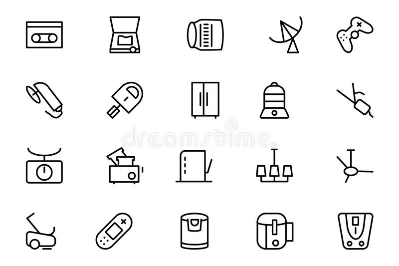 Линия значки 7 вектора электроники иллюстрация штока