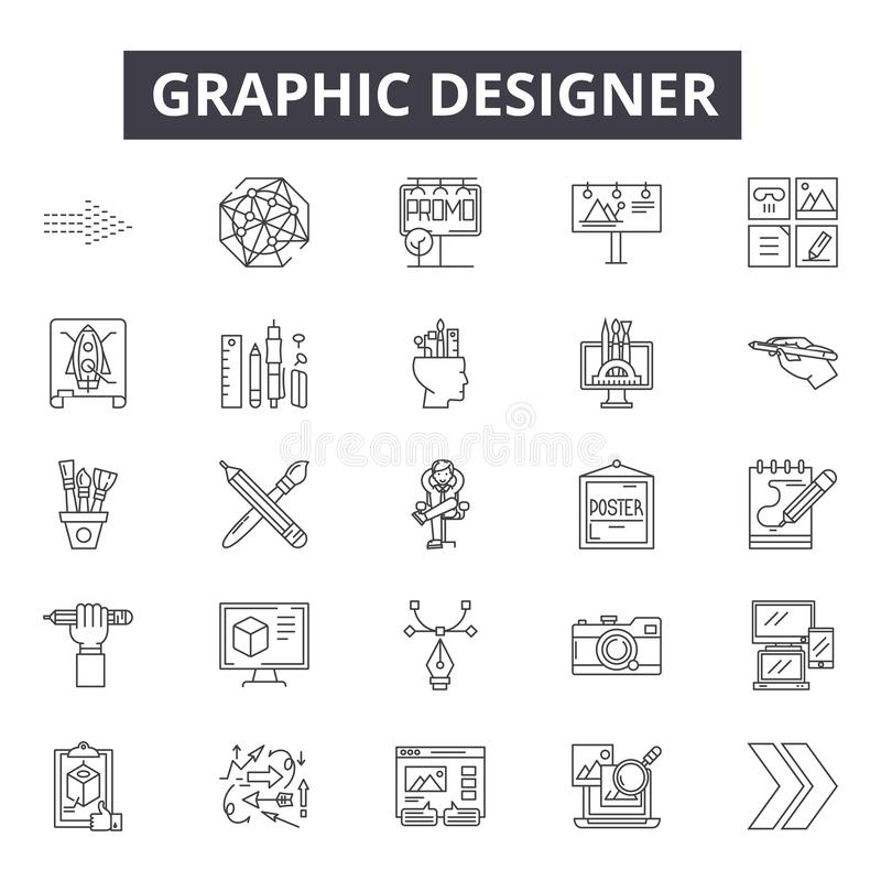 Линия значки график-дизайнера, знаки, набор вектора, линейная концепция, иллюстрация плана иллюстрация штока